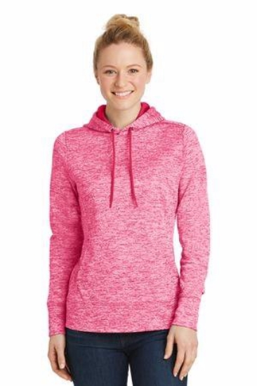 Sport-Tek Ladies PosiCharge Electric Heather Fleece Hooded Pullover. LST225