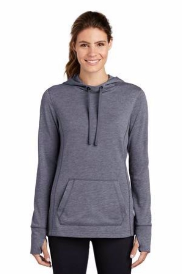 Sport-Tek  Ladies PosiCharge  Tri-Blend Wicking Fleece Hooded Pullover. LST296
