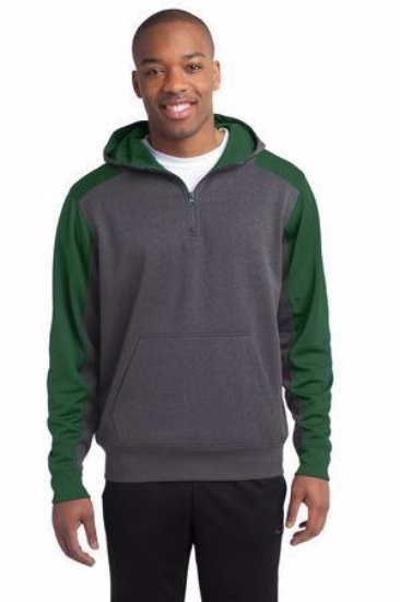 Sport-Tek  Tech Fleece Colorblock 1/4-Zip Hooded Sweatshirt. ST249