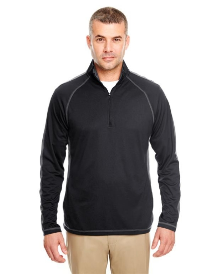 Adult Cool & Dry Sport Quarter-Zip Pullover with Side and Sleeve Panels - 8398