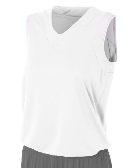 Ladies' Moisture Management V Neck Muscle Shirt - NW2340