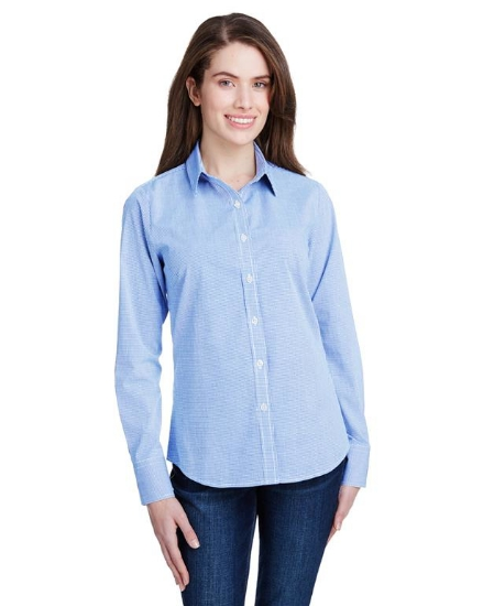 Ladies' Microcheck Gingham Long-Sleeve Cotton Shirt - RP320